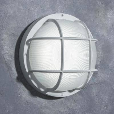 Coastal Jacksonville White Integrated LED Bulkhead Wall Lantern