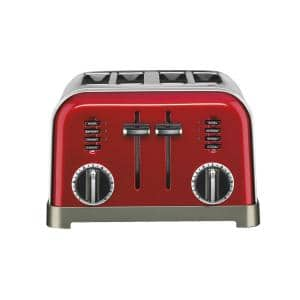 Classic Series 4-Slice Red Wide Slot Toaster with Crumb Tray