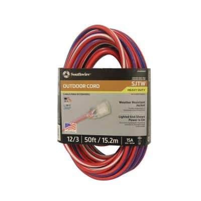 50 ft. 12/3 SJTW USA Outdoor Heavy-Duty Extension Cord with Power Light Plug