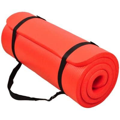 Multi-Purpose Red 24 in. W x 68 in. L x 1/4 in. Thick Foam Exercise Yoga Mat with Carrying Strap (11.8 sq. ft.)