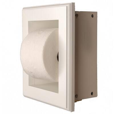 Newton Recessed Toilet Paper Holder 16 Holder in White in Niche Frame
