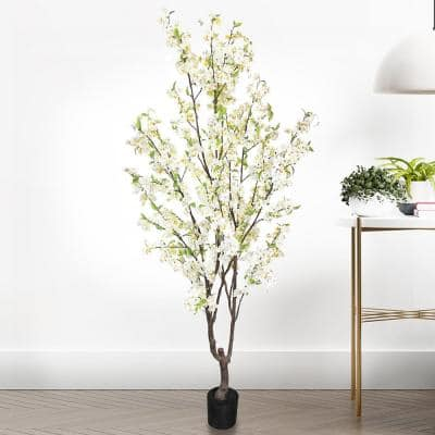 6.5 ft. Artificial Cherry Blossom Flower Tree in Pot