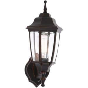 1-Light Oil-Rubbed Bronze Outdoor Dusk-to-Dawn Wall Lantern Sconce