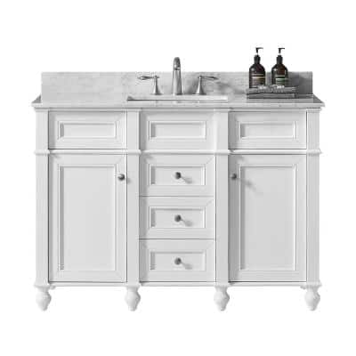 Margaux 48 in. W x 22 in. D x 34.2 in. H Bath Vanity in White with Carrara Marble Vanity Top in White with White Basin