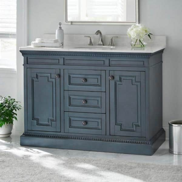 Home Decorators Collection Cailla 48 In W X 21 50 In D Bath Vanity Cabinet Only In Distressed Blue Fog Ckbv4822d The Home Depot