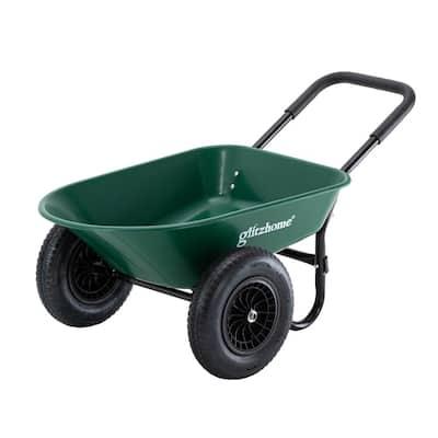 5 cu. ft. Green Steel Framed Plastic Garden Dual-Wheel Utility Dump Cart