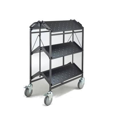 Folding Master Busing Cart, 3-Shelf Black 550 lbs. Cap with 5 in. Swivel Caster 34 in. H x 17.5 in. W x 35 in. H