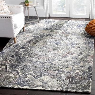 Marquee Gray/Multi 4 ft. x 6 ft. Border Area Rug