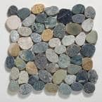 Sliced Pebble Tile River Grey 11-1/2 in. x 11-1/2 in. x 9.5 mm Mesh-Mounted Mosaic Tile (10.12 sq. ft. / case)