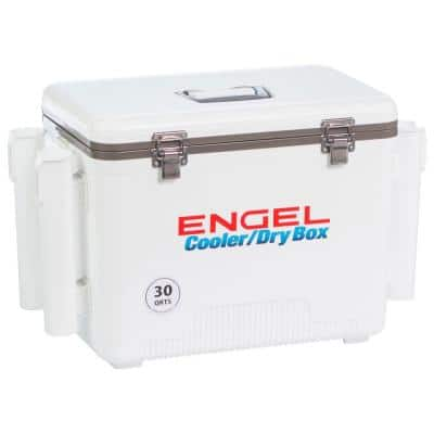 30 qt. 48-Can Lightweight Insulated Mobile Cooler Drybox, White