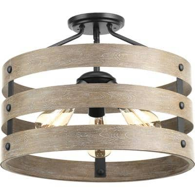 Gulliver 17 in. 3-Light Graphite Farmhouse Semi-Flush Ceiling Mount or Hanging Light with Weathered Driftwood Frame