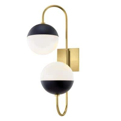 Renee 2-Light Aged Brass/Black Wall Sconce with Opal Glossy Shade