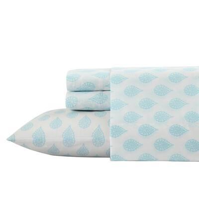3-Piece Aqua Antimicrobial Cotton Blend Twin Bedding Sheet Set Paisley