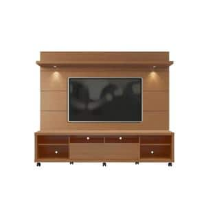 Cabrini 86 in. Maple Cream Engineered Wood Entertainment Center with 2 Drawer Fits TVs Up to 70 in. with Wall Panel