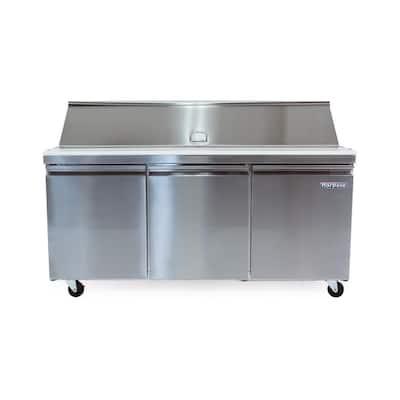 70 in. W 15.5 cu. ft. 3-Door Mega Top Sandwich-Salad Prep Table Stainless Steel