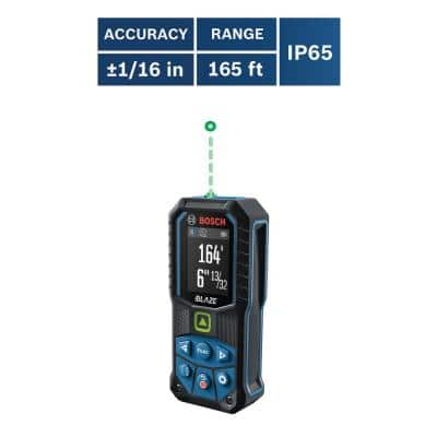 BLAZE 165 ft. Green Laser Distance Tape Measuring Tool with Color Screen and Measurement Rounding Functionality