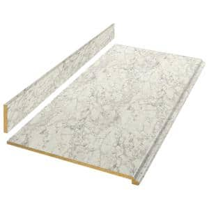 8 ft. White Laminate Countertop Kit with Full Wrap Ogee Edge in Marmo Bianco Marble
