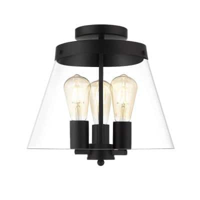 Clark 13 in. 3-Light Black Semi-Flush Mount with Clear Glass Shade