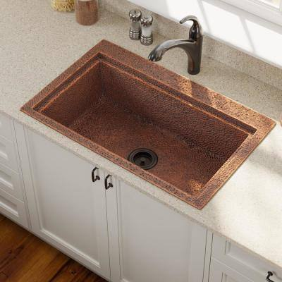 Dualmount Copper 31-1/2 in. Single Bowl Kitchen Sink with Strainer