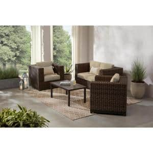 Fernlake 4-Piece Taupe Wicker Outdoor Patio Deep Seating Set with CushionGuard Putty Tan Cushions