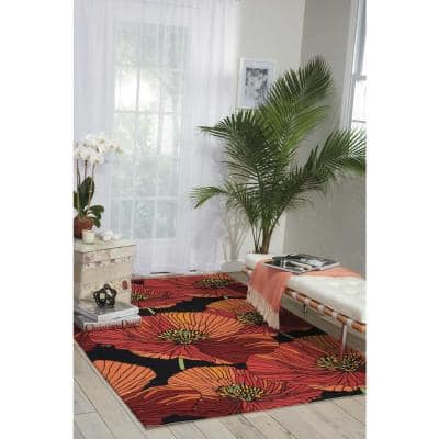 Fantasy Black 5 ft. x 8 ft. Floral Contemporary Area Rug