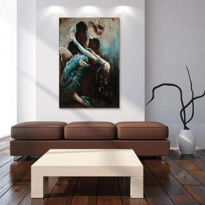 """48 in. x 32 in. """"Ballroom Dancers"""" Mixed Media Iron Hand Painted Dimensional Wall Art"""