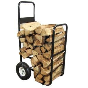 Steel Firewood Log Cart Carrier with Cover in Black