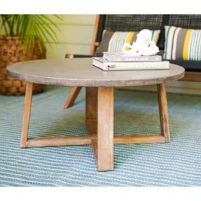 Athens Round Cement Outdoor Coffee Table