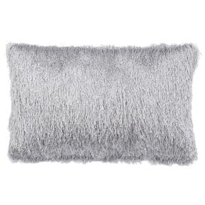 Soleil Shag Silver Rectangle Outdoor Lumbar Throw Pillow