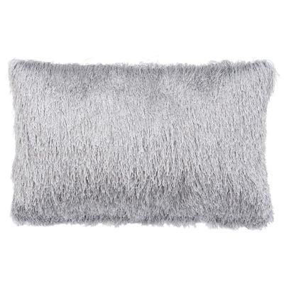Soleil Shag Silver Rectangle Outdoor Lumbar Throw Pillow
