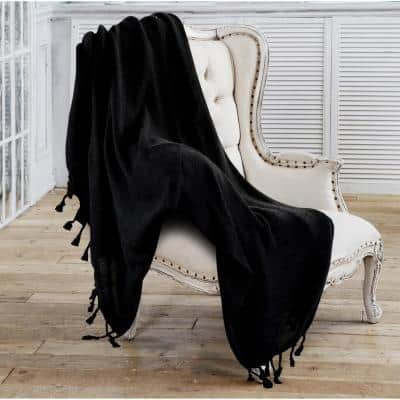 Woven 50 in. x 60 in. Jet Black Solid Checkered Cotton Fringe Throw Blanket