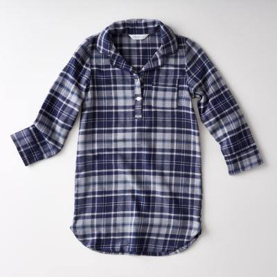 Family Flannel Company Cotton Girl's 10 Sleepshirt in Navy Plaid