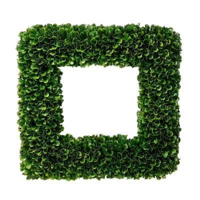 Faux Boxwood Square Wreath