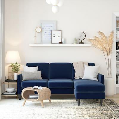 Winston Blue Velvet 3-Seat L-Shaped Sofa Sectional