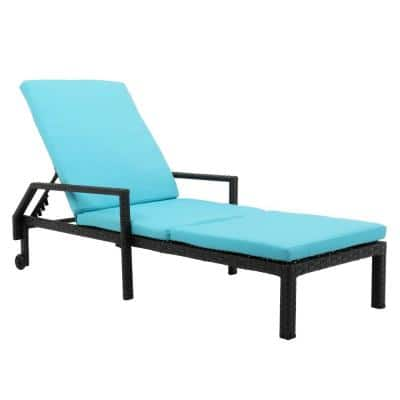 Black Back Adjustable Rattan Outdoor Lounge Chair Chaise Recliner with Blue Cushions