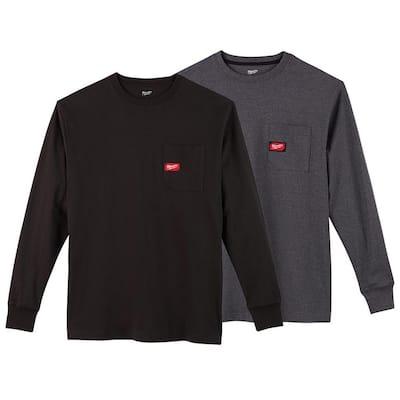 Men's Medium Black and Gray Heavy-Duty Cotton/Polyester Long-Sleeve Pocket T-Shirt (2-Pack)