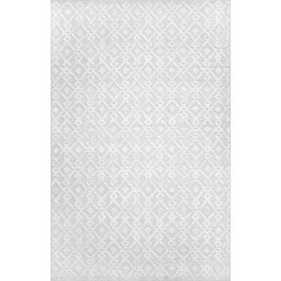 Kadence Diamond Trellis Texture Ivory 5 ft. x 8 ft. Area Rug