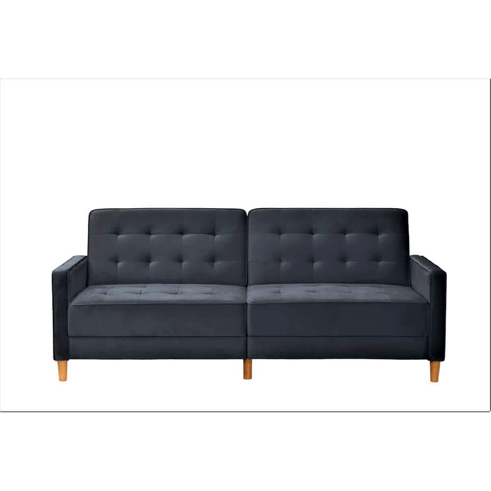 Us Pride Furniture Jonathan 80 In Black Tufted Velvet 2 Seater Twin Sleeper Sofa Bed With Square Arms Sb9074 The Home Depot