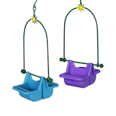 8.5 in. x 16 in. 2-Piece Hanging Basket in Blue and Purple Plastic Bird Feeder