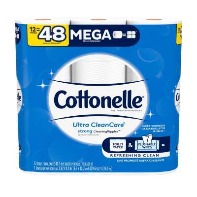 Ultra Clean Care White Toilet Tissue (340-Sheets Per Roll 12 Rolls Per Pack)