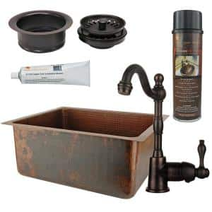 Bronze 14 Gauge Copper 20 in. Dual Mount Bar Sink with Faucet and Garbage Disposal Drain