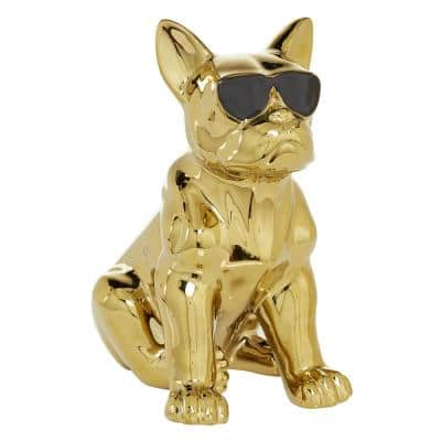 Gold Glossy Finish On Ceramic French Bulldog Sculpture, 6.5 in. x 12 in.