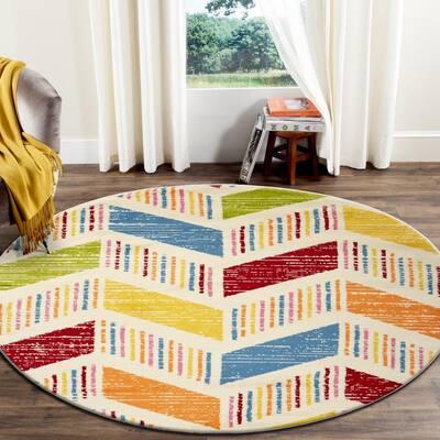 Whimsical Cream/Orange 5 ft. Round Indoor Area Rug