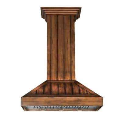 ZLINE 36 in. Wooden Wall Mount Range Hood in Rustic Light Finish - Includes  Motor (KPLL-36)