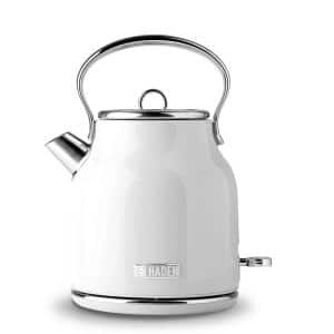 Heritage 7-Cup White Cordless Stainless Steel Retro Electric Kettle with Auto Shut-Off