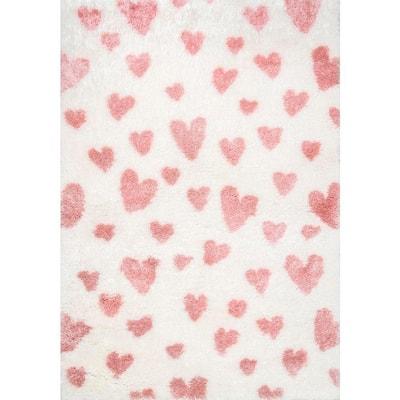 Alison Heart Shag Pink 4 ft. x 6 ft. Area Rug