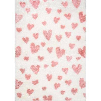 Alison Heart Shag Pink 5 ft. x 8 ft.  Area Rug