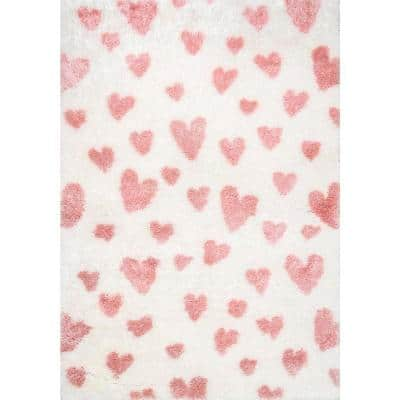 Alison Heart Shag Pink 6 ft. 7 in. x 9 ft.  Area Rug