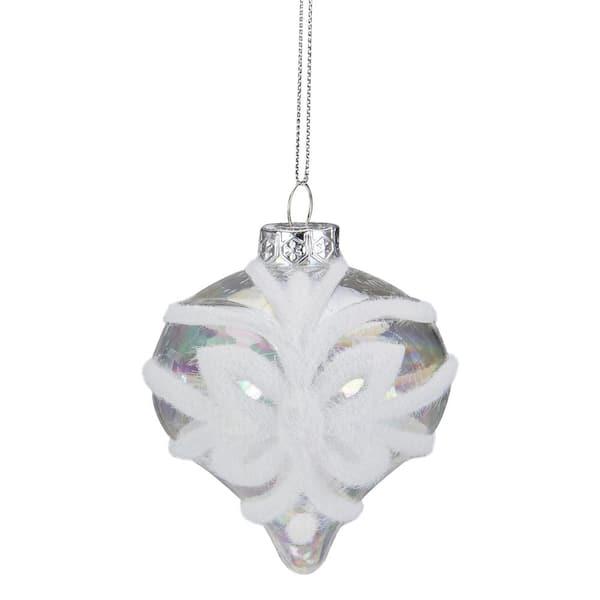 Set of 2 Glass Blue Finial Ornaments w