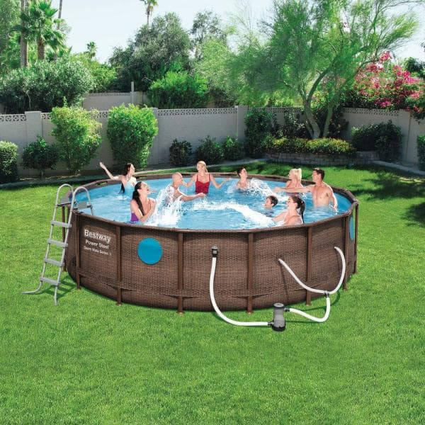 Bestway 16 Ft Round 48 In D Hard Sided Power Swim Vista Above Ground Pool Set With Pump And Aqua Vacuum 56726e Bw 58422e Bw The Home Depot